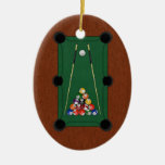 Billiards Double-Sided Oval Ceramic Christmas Ornament
