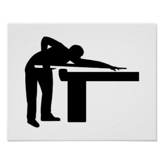 Billiards player pool table poster