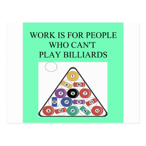 billiards player post cards