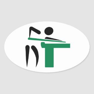 Billiards player symbol oval sticker