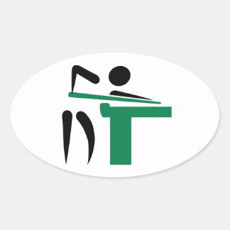 Billiards player symbol oval sticker