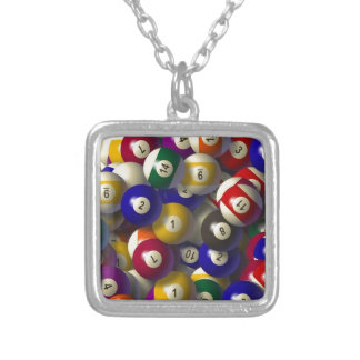 BILLIARDS POOL BALLS CHRISTMAS ORNAMENT SILVER PLATED NECKLACE