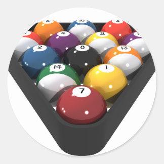 Billiards / Pool Balls Racked: Classic Round Sticker