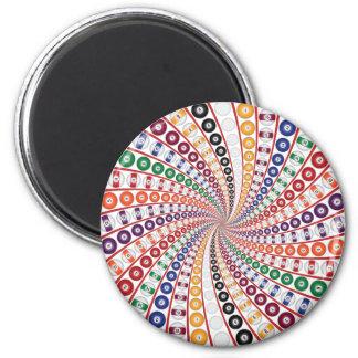 Billiards / Pool Balls Spiral: 2 Inch Round Magnet