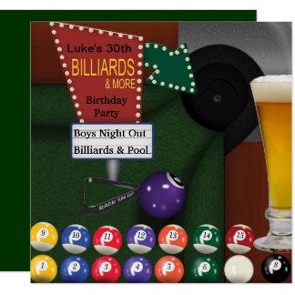 Billiards Pool Mans 30th Birthday Party Card