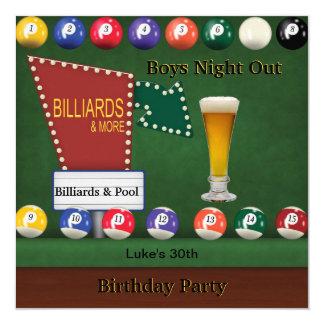 Billiards Pool Mans Birthday Party Night Beer Card