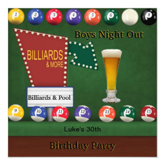 Billiards Pool Mans Birthday Party Night Beer 5.25x5.25 Square Paper Invitation Card