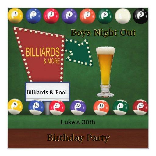 Billiards Pool Mans Birthday Party Night Beer 5.25x5.25 ...