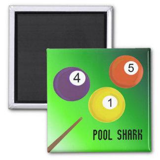Billiards Pool Shark 2 Inch Square Magnet