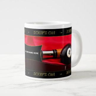 BILLIARDS/POOL SOUP'S ON JUMBO MUG 20 OZ LARGE CERAMIC COFFEE MUG
