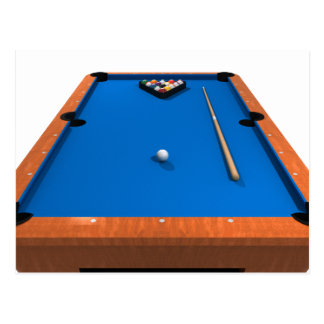 Billiards / Pool Table: Blue Felt: Postcard