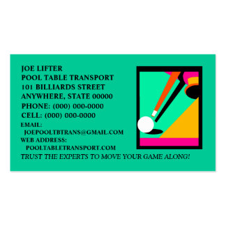 BILLIARDS-POOL TABLE IN ABSTRACT ~ BUSINESS CARDS! BUSINESS CARD