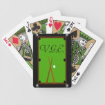 Billiards Pool Table Monogram Bicycle Playing Cards