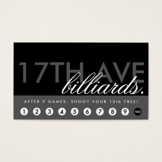 BILLIARDS rewards program Business Card