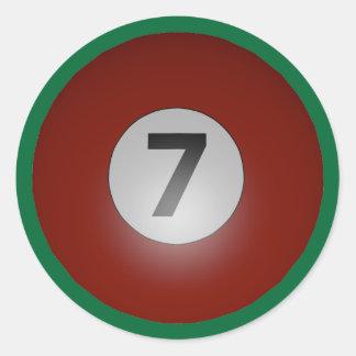Billiards Seven Ball Classic Round Sticker