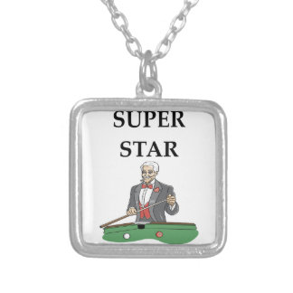billiards silver plated necklace