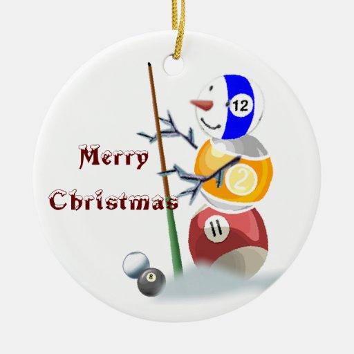 Billiards Snowman Christmas Ornament