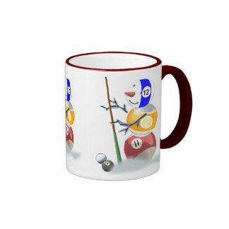 Billiards Snowman Christmas Ringer Mug