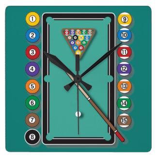 Billiards Square Wall Clock
