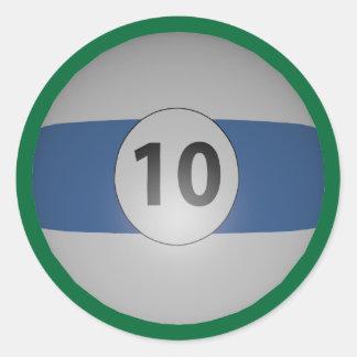 Billiards Ten Ball Classic Round Sticker