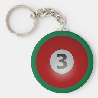 Billiards Three Ball Basic Round Button Keychain