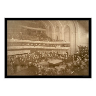 Billiards Tournament Photo 1908 Posters