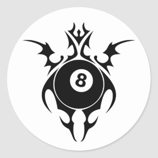 billiards. tribal. classic round sticker