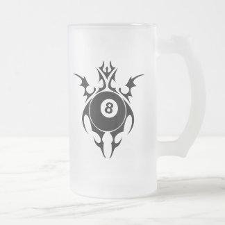 billiards. tribal. frosted glass beer mug