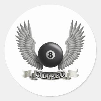 Billiards wings B Classic Round Sticker