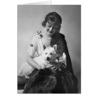 Billie Burke con su perro 1915 Tarjeta De Felicitación
