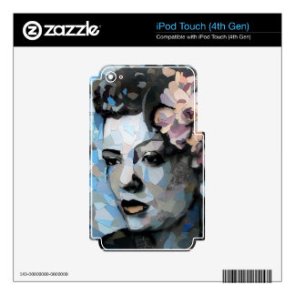 Billie Holiday contemporary portrait with a flower Decals For iPod Touch 4G