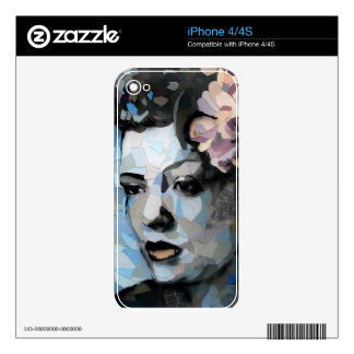 Billie Holiday contemporary portrait with a flower iPhone 4 Skins