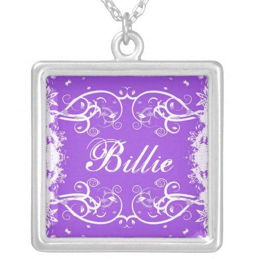 """""""Billie"""" on purple flourish swirls necklace"""