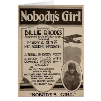 Billie Rhodes 1920 silent movie exhibitor ad Card
