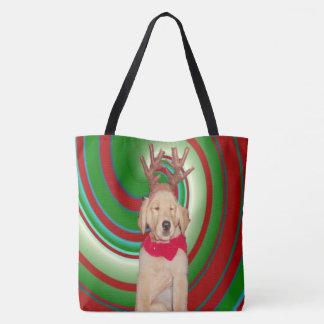 billie-the-golden-reindeer tote bag