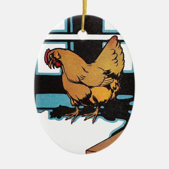 Billina the Yellow Hen Ceramic Ornament