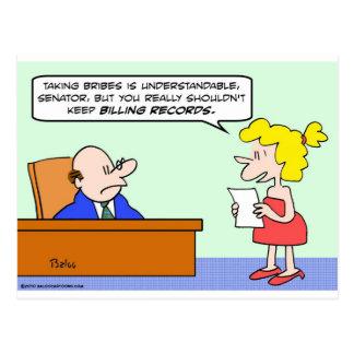 billing records senator bribes postcard