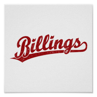 Billings script logo in red poster