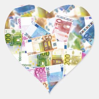 Bills Money Euro Background Wealth Rich Heart Sticker
