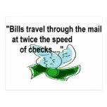 Bills Travel fast by mail Postcard