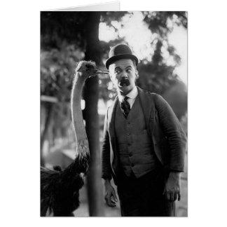 Billy Bevan con una avestruz, circa los últimos añ Felicitación