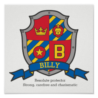 Billy boys name meaning heraldry shield letter B Poster