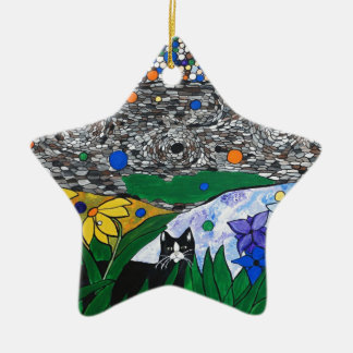 billy el gato y su jardín secreto adorno de cerámica en forma de estrella