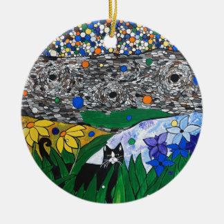 billy el gato y su jardín secreto adorno redondo de cerámica