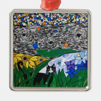 billy el gato y su jardín secreto adorno cuadrado plateado