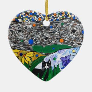 billy el gato y su jardín secreto adorno de cerámica en forma de corazón