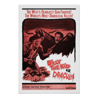 Billy el niño contra el poster de Drácula