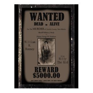 Billy el niño quiso el poster muerto o vivo tarjetas postales