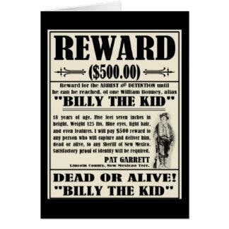 Billy el niño quiso el poster tarjeton