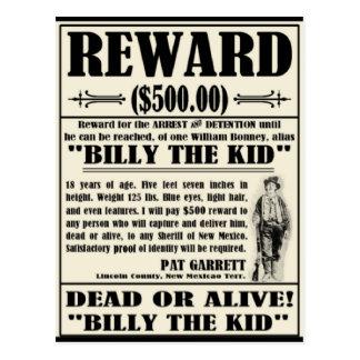 Billy el niño quiso el poster postales